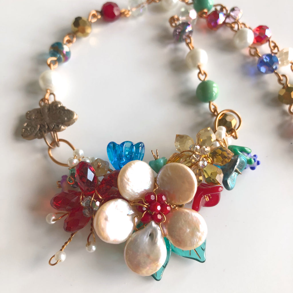 Multi-color Flower Garden Necklace - © Blue Pomegranate Gallery