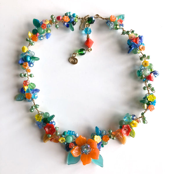 Rambling Rose, Tropical Necklace by Mary Lowe - © Blue Pomegranate Gallery
