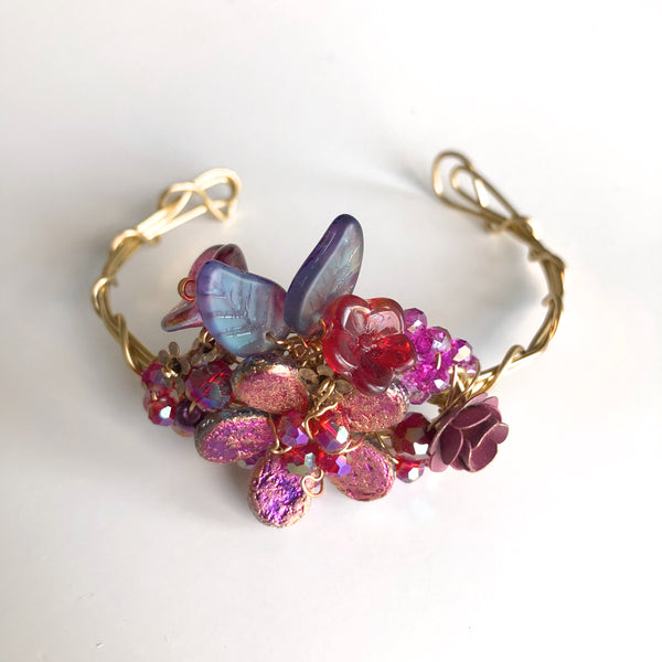 Rose & Mauve Wrist Corsage Bracelet by Mary Lowe - © Blue Pomegranate Gallery