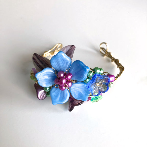 Blue & Magenta Wrist Corsage Bracelet by Mary Lowe - © Blue Pomegranate Gallery