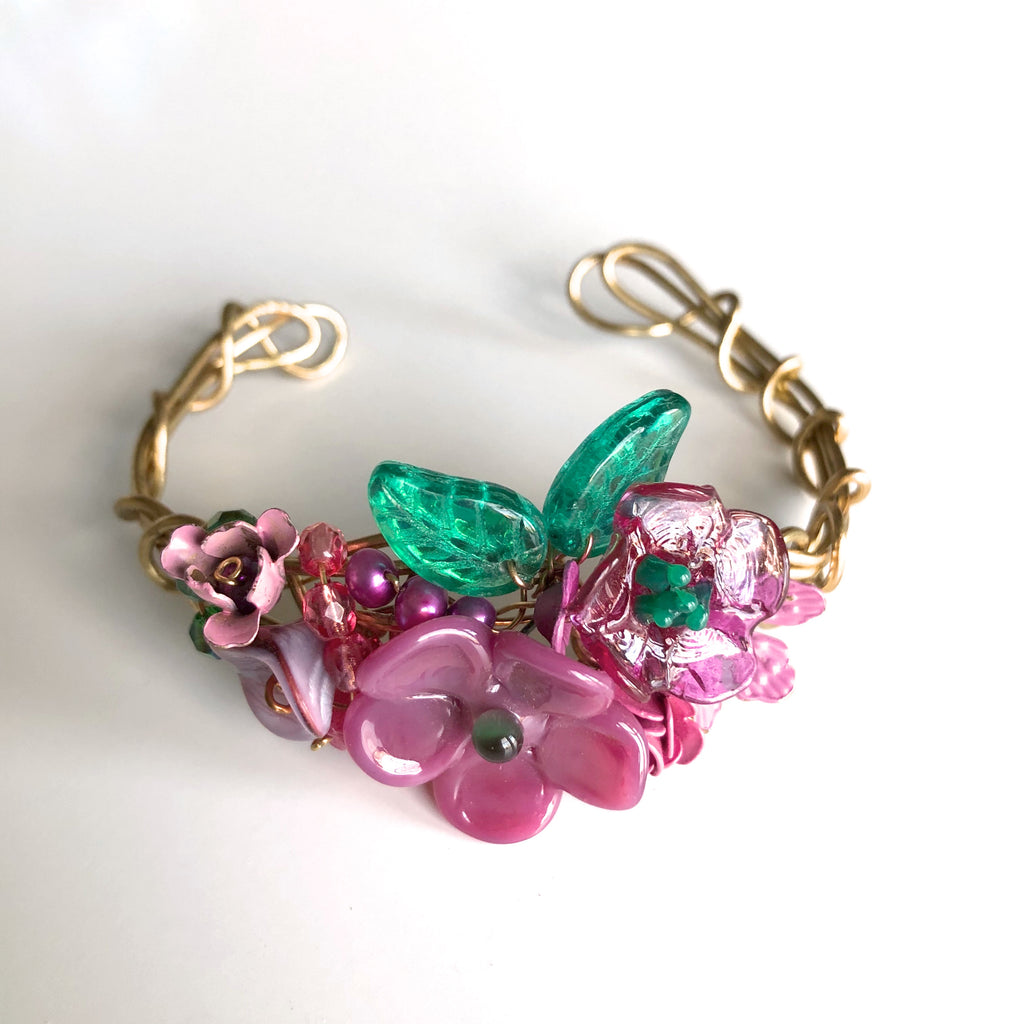 Magenta & Emerald Wrist Corsage Bracelet by Mary Lowe - © Blue Pomegranate Gallery