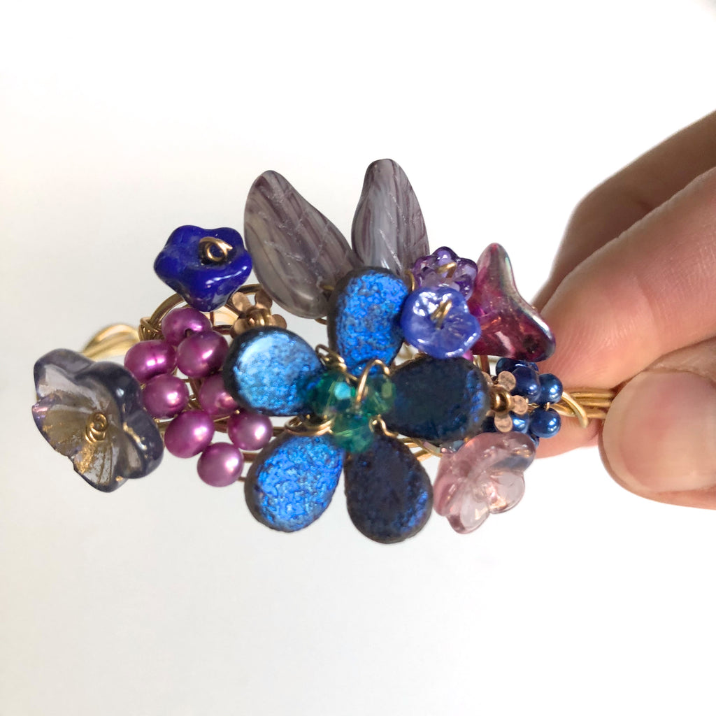 Cobalt & Dusty Pink Wrist Corsage Bracelet by Mary Lowe - © Blue Pomegranate Gallery