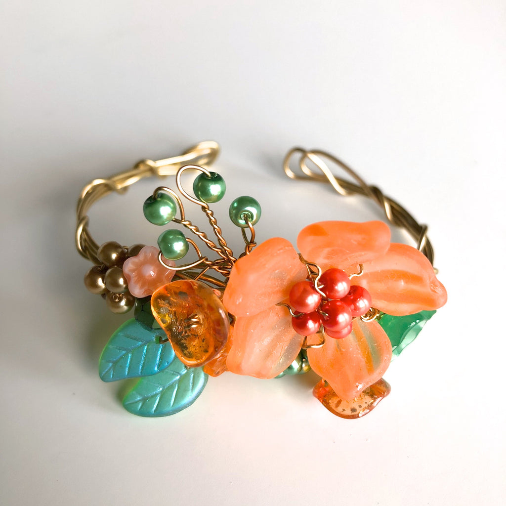 Tangerine & Green Wrist Corsage Bracelet by Mary Lowe - © Blue Pomegranate Gallery