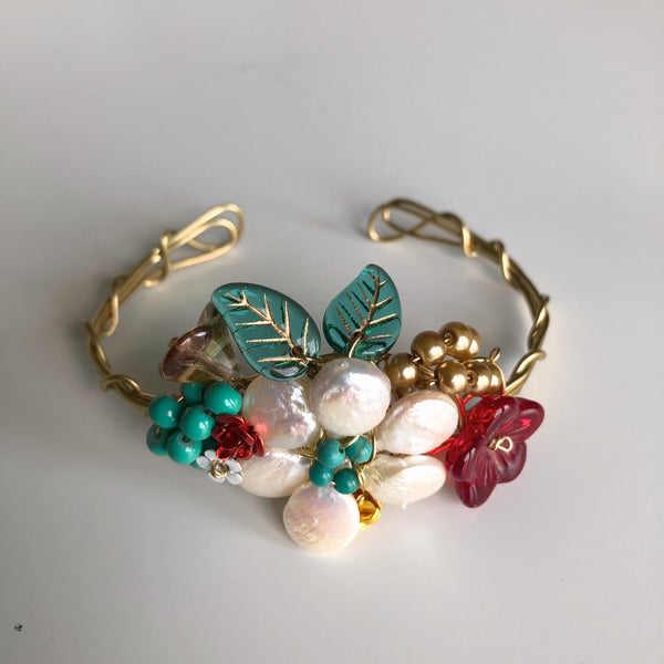 Pearl & Red Wrist Corsage Bracelet by Mary Lowe - © Blue Pomegranate Gallery