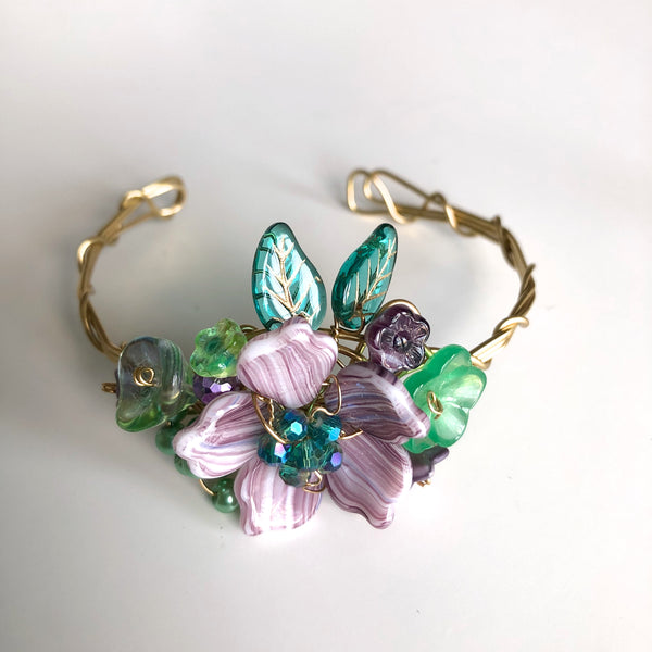 Purple & Emerald Wrist Corsage Bracelet by Mary Lowe - © Blue Pomegranate Gallery