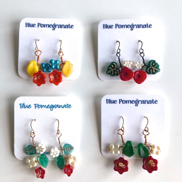 Flower Cluster Earrings, Warm Colors by Mary Lowe - © Blue Pomegranate Gallery