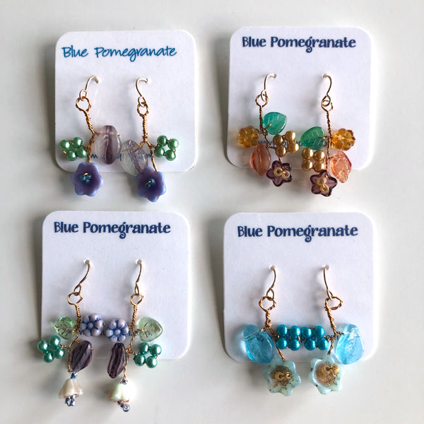 Flower Cluster Earrings, Cool Colors by Mary Lowe - © Blue Pomegranate Gallery
