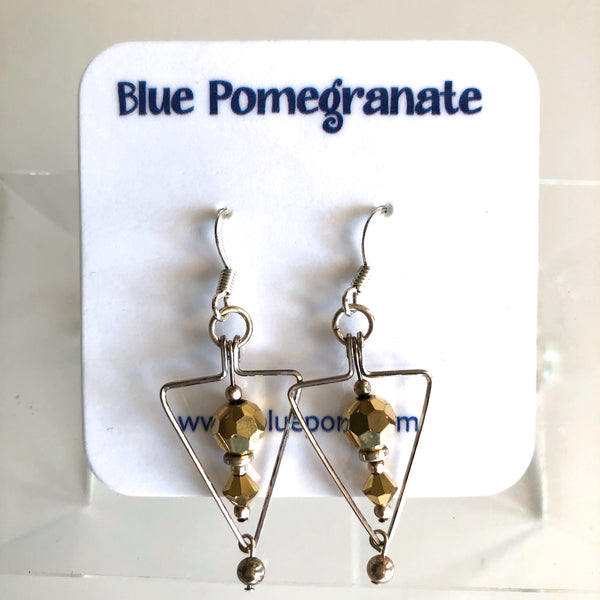 Triangle Earrings with Gold Beads by Mary Kahmann - © Blue Pomegranate Gallery