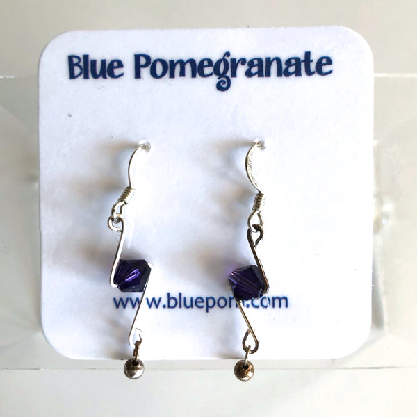 Simplistics Earrings with Purple Beads by Mary Kahmann - © Blue Pomegranate Gallery
