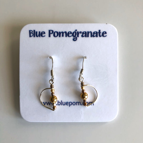 Simplistics Earrings with Half Moon and Gold Beads by Mary Kahmann - © Blue Pomegranate Gallery