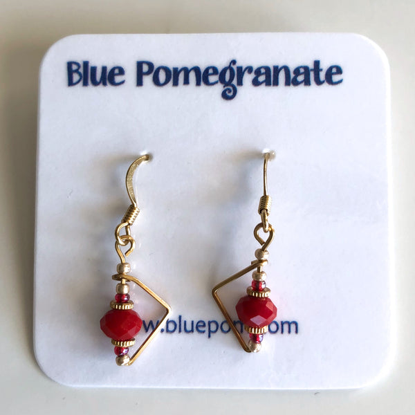 Simplistics Earrings with Red Beads by Mary Kahmann - © Blue Pomegranate Gallery