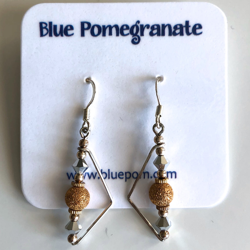 Obtuse Triangle Earrings with Glittered Beads by Mary Kahmann - © Blue Pomegranate Gallery