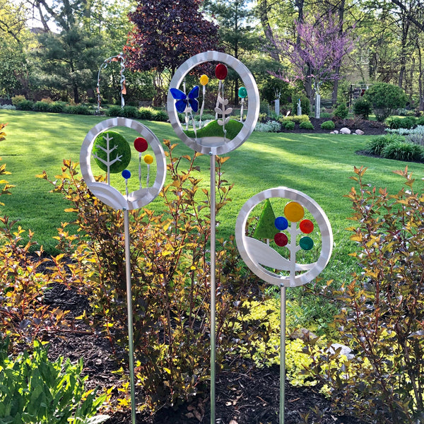 Garden Landscape Lolli w/ glass by Sondra Gerber - © Blue Pomegranate Gallery