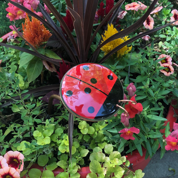 Ladybug Bobble Garden Stake by Lisa Fida - © Blue Pomegranate Gallery