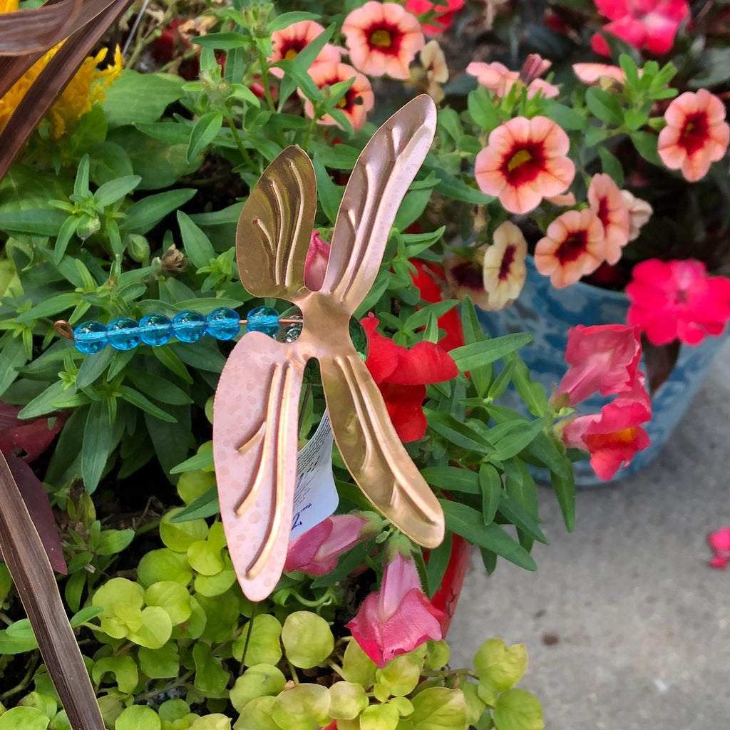 Dragonfly Potted Plant Stake by Lisa Fida - © Blue Pomegranate Gallery