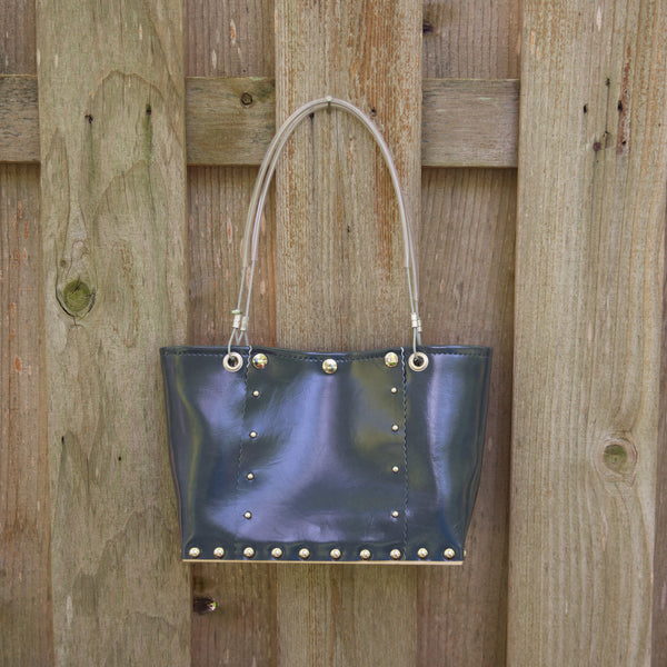 Med Dusty Blue Split Handbag by Renee Sonnichsen - © Blue Pomegranate Gallery