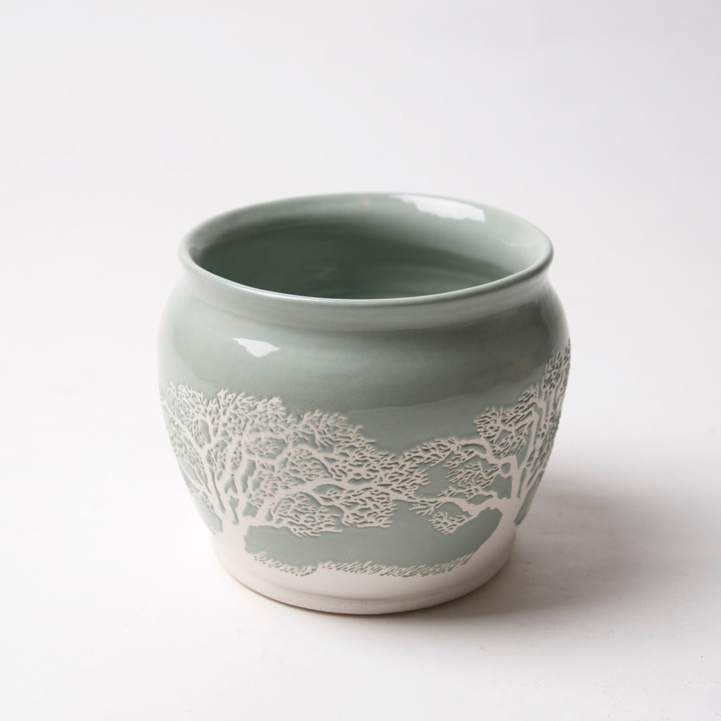 AX-195-A Small Sage Green Pot with white Bonsai by Tim Axtman - © Blue Pomegranate Gallery