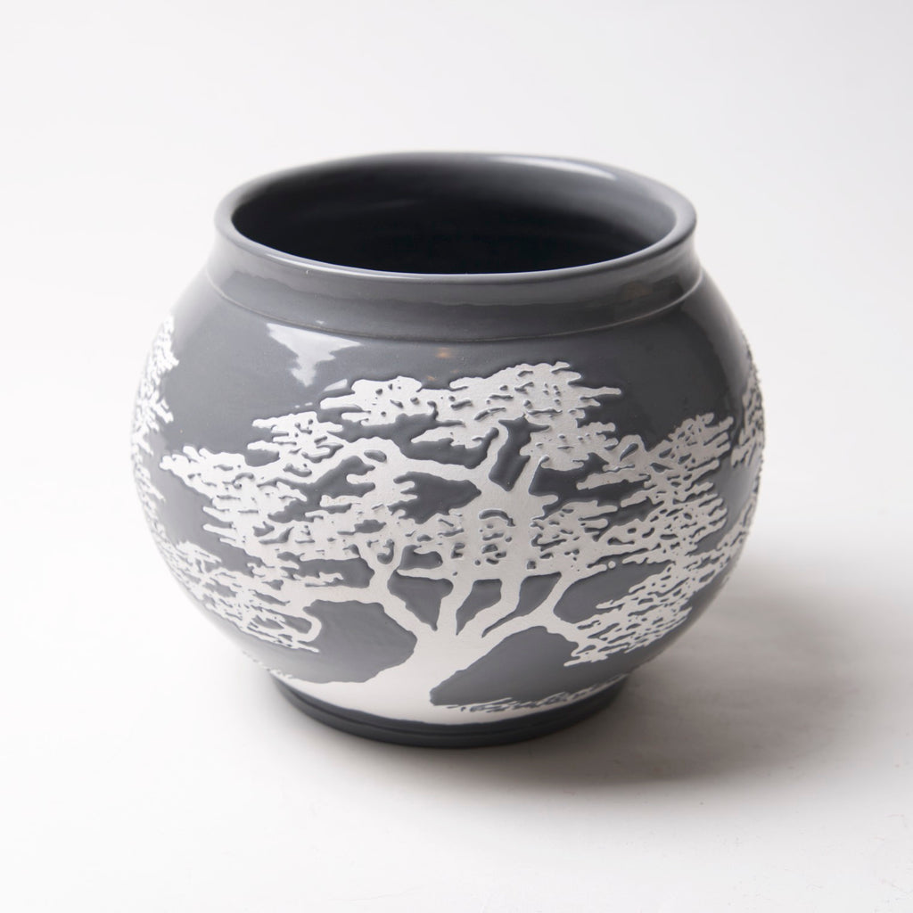 AX-166-A Small Gray Pot with white Bonsai by Tim Axtman - © Blue Pomegranate Gallery