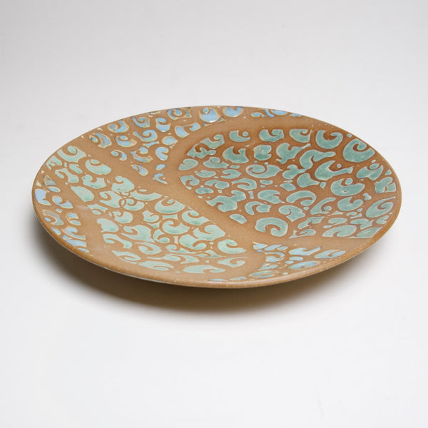 Green Swirly 12 in Platter by Liz Kinder - © Blue Pomegranate Gallery