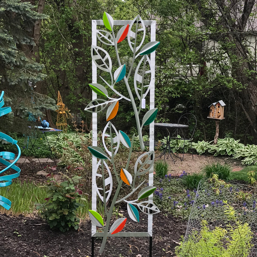 Striped leaves Trellis w/glass by Sondra Gerber - © Blue Pomegranate Gallery
