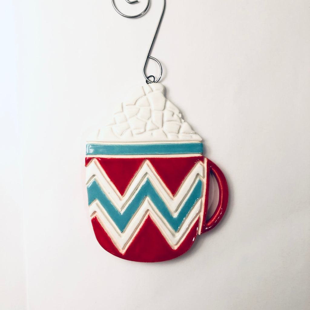 Hot Chocolate Clay handmade ornament - © Blue Pomegranate Gallery