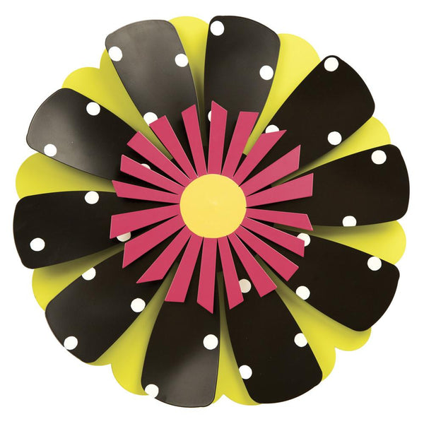 "18"" Pink Flower B/W Dots Kinetic Spinner by Carol Roeda - © Blue Pomegranate Gallery"