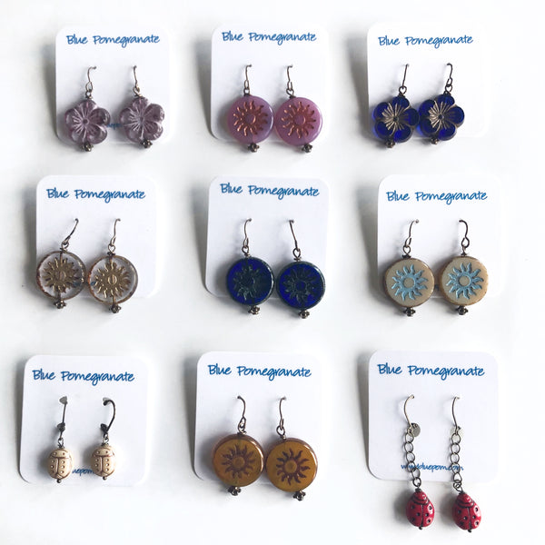 Glass Suns, Blossoms, & Bugs Earrings by Kristi Harrison - © Blue Pomegranate Gallery