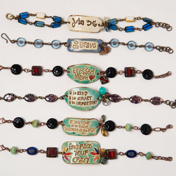 Ceramic Word Bracelets by Kristi Harrison - © Blue Pomegranate Gallery