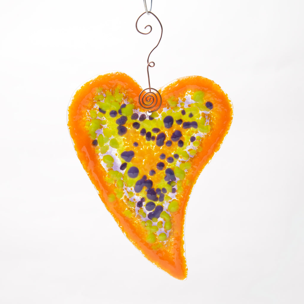 Large Fused glass Heart by Heidi Riha - © Blue Pomegranate Gallery