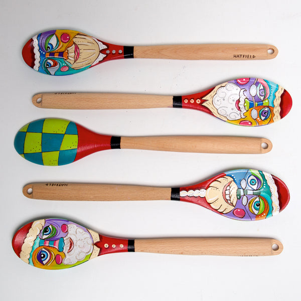 Santa Funny Face wood spoons by Linda Hatfield - © Blue Pomegranate Gallery