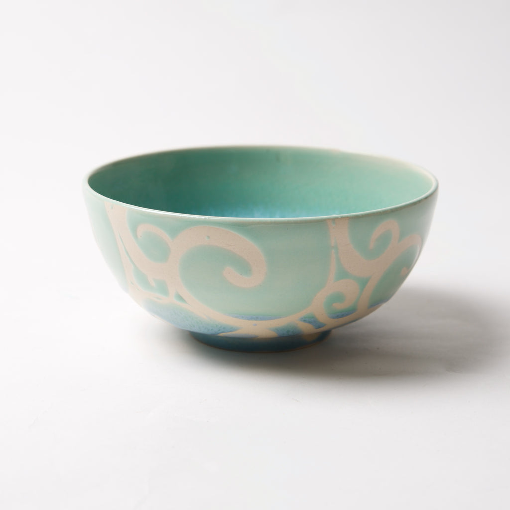 Light Blue Swirly Bowl by Liz Kinder - © Blue Pomegranate Gallery