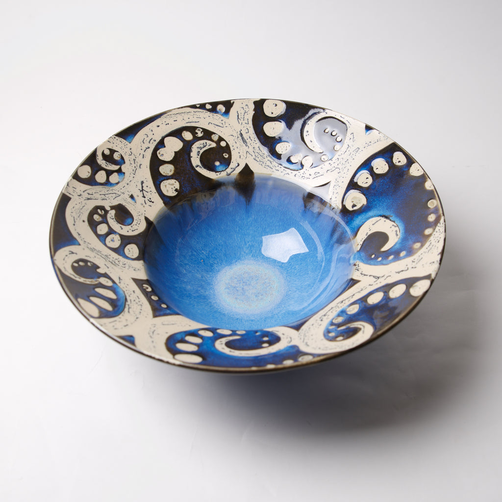 Cobalt Swirly Large Wide Bowl by Liz Kinder - © Blue Pomegranate Gallery