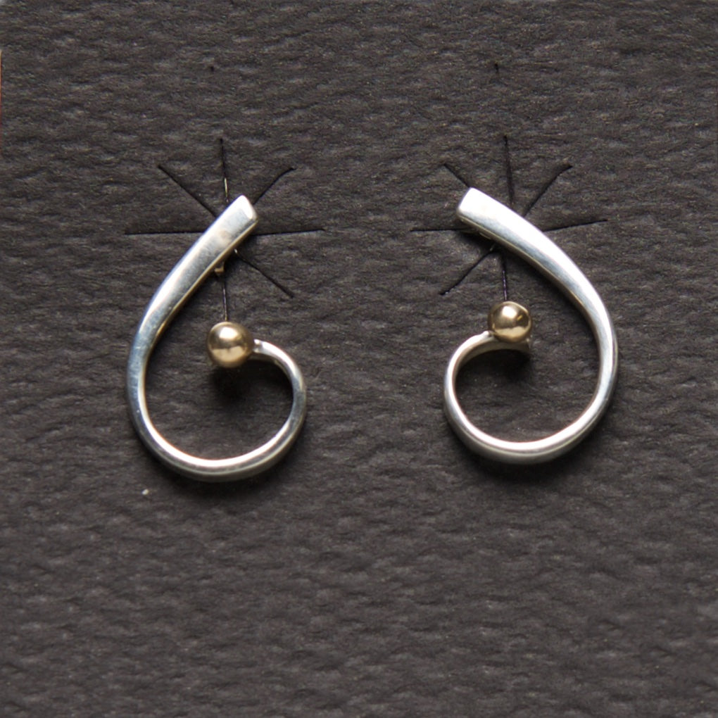 MM-E-156 Earring, Sterling & 14Kt Ball by Margie Magnuson - © Blue Pomegranate Gallery