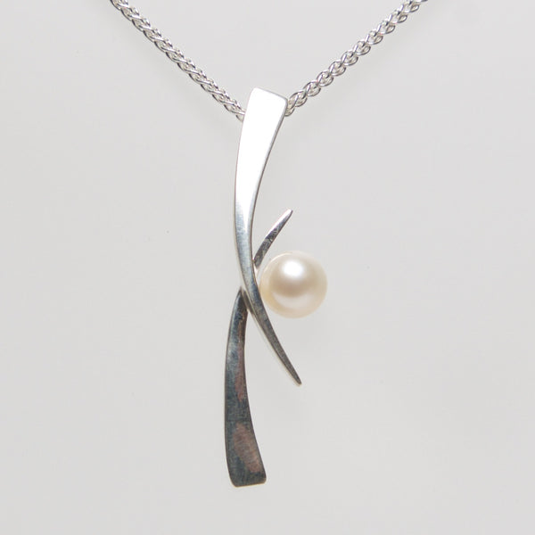 MM-P-175 Pendant, Sterling w/ Button Pearl by Margie Magnuson - © Blue Pomegranate Gallery