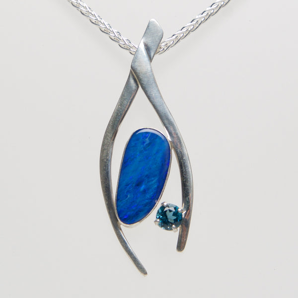 MM-P-Opal Pendant, Sterling w/ boulder Opal & Blue Topaz by Margie Magnuson - © Blue Pomegranate Gallery