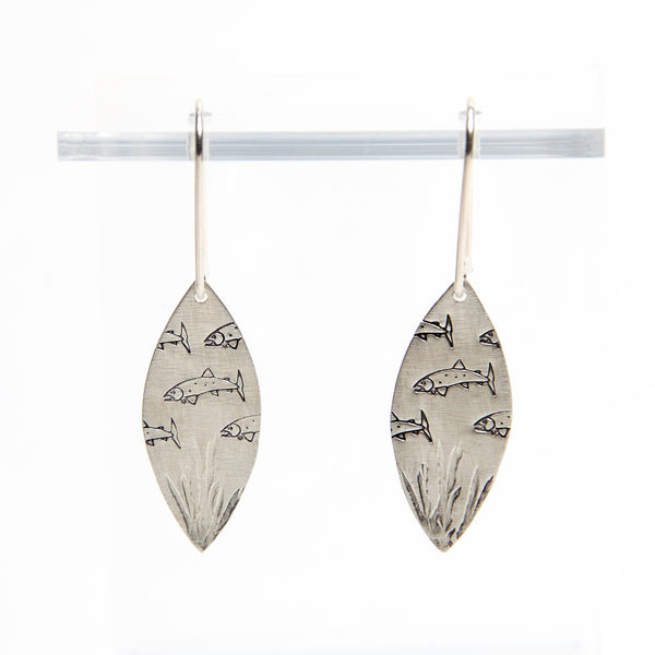 HMQ- Deep Sea- St. Silver Earrings by McQueen - © Blue Pomegranate Gallery