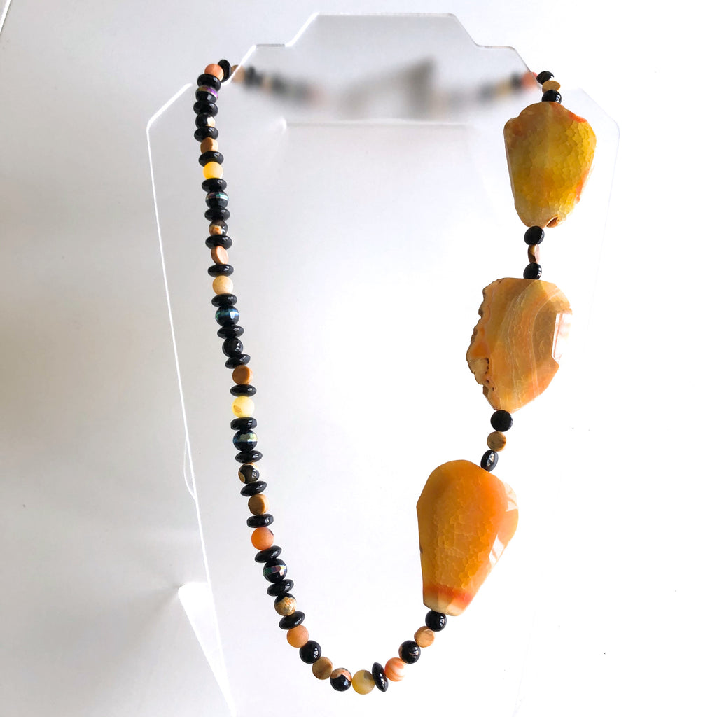 Orange Slab Agate with black Onyx, yellow jasper by Trudy Foster - © Blue Pomegranate Gallery