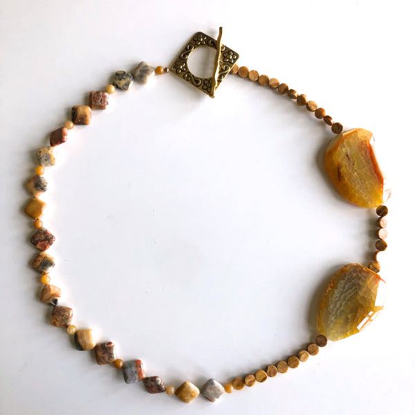 Orange Agate, yellow jasper & crazy lace agate by Trudy Foster - © Blue Pomegranate Gallery