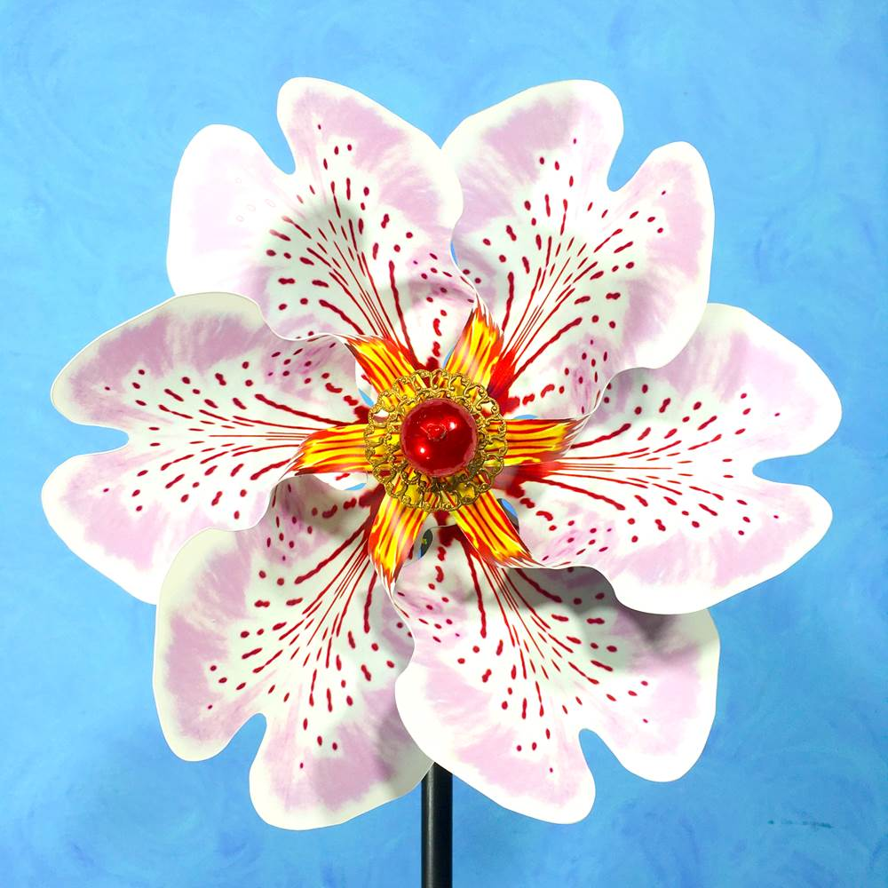 PA- Pink & Red Miltonia Pinwheel Spinner - © Blue Pomegranate Gallery