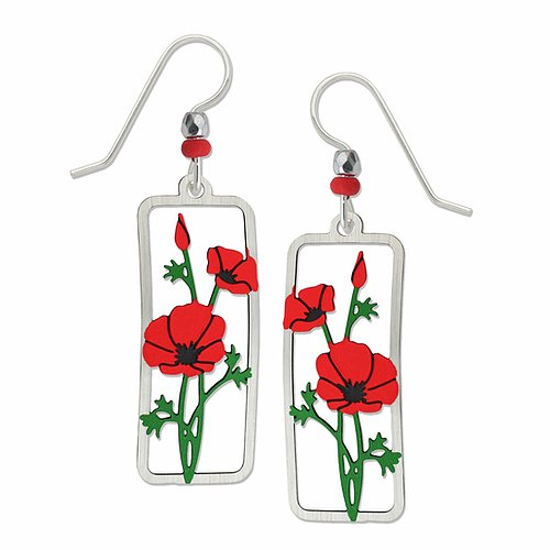 1933 Red Poppies Earrings by Barbara MacCambridge - © Blue Pomegranate Gallery