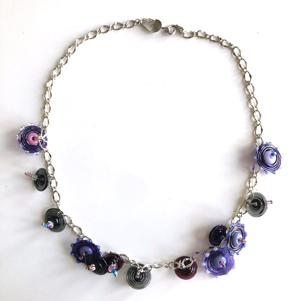 Purple Lampwork Glass Discs Necklace by Trudy Foster - © Blue Pomegranate Gallery