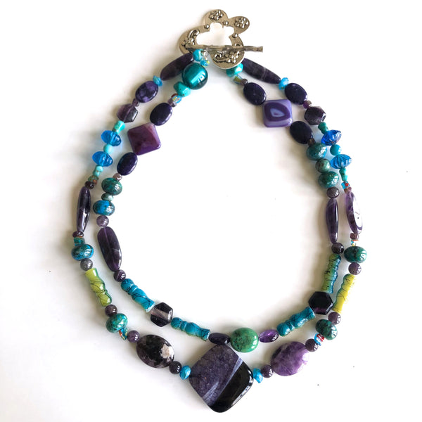 TF-2 strand, Purple & Turquoise, butterfly clasp by Trudy Foster - © Blue Pomegranate Gallery