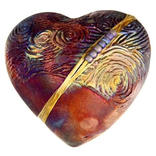 Raku Starry Night Heart Rattle by Davis - © Blue Pomegranate Gallery