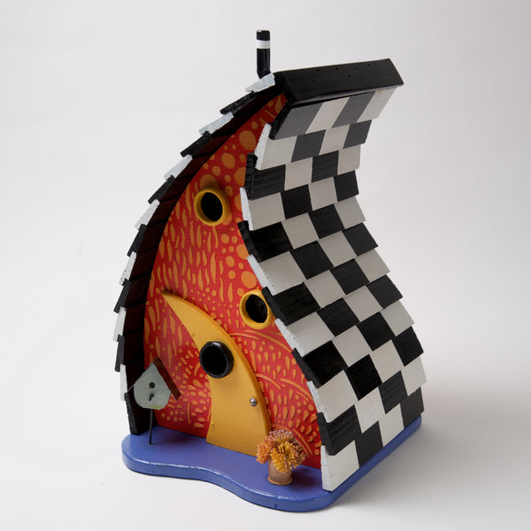 Red Yellow Checkered Bird House by Coulter & Determan - © Blue Pomegranate Gallery