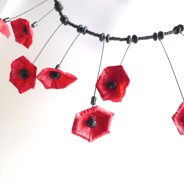 Papier-mache Red&Blk, w/sm flowers Necklace  by Trudy Foster - © Blue Pomegranate Gallery