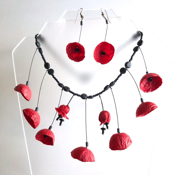 Papier-mache Large Red Poppies, Necklace  by Trudy Foster - © Blue Pomegranate Gallery