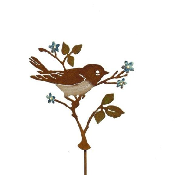 Warbler on Forget me nots Stake by Jim & Madeleine Crowdus - © Blue Pomegranate Gallery