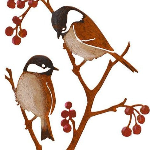 Chickadees & Berries Stake by Jim & Madeleine Crowdus - © Blue Pomegranate Gallery