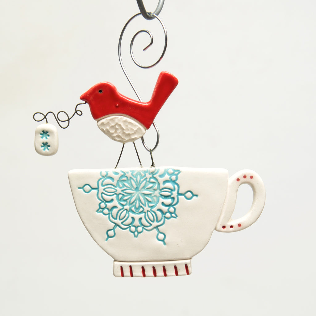 Tea Cup Clay handmade ornament by Sally Scott - © Blue Pomegranate Gallery