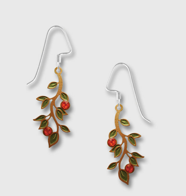4045 Green Leaves Sun cab Earrings by Barbara MacCambridge - © Blue Pomegranate Gallery
